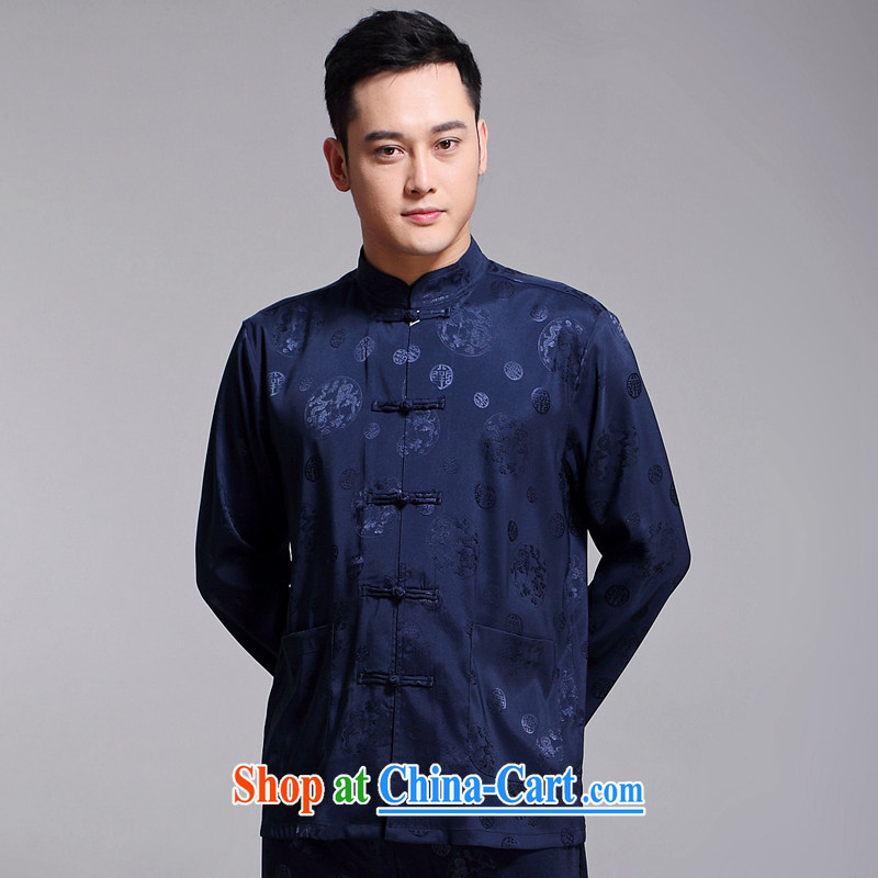 Chinese men set new, older men's Sauna silk morning exercise clothing exercise clothing Tai Chi Kit long-sleeved Chinese blue 1516 180