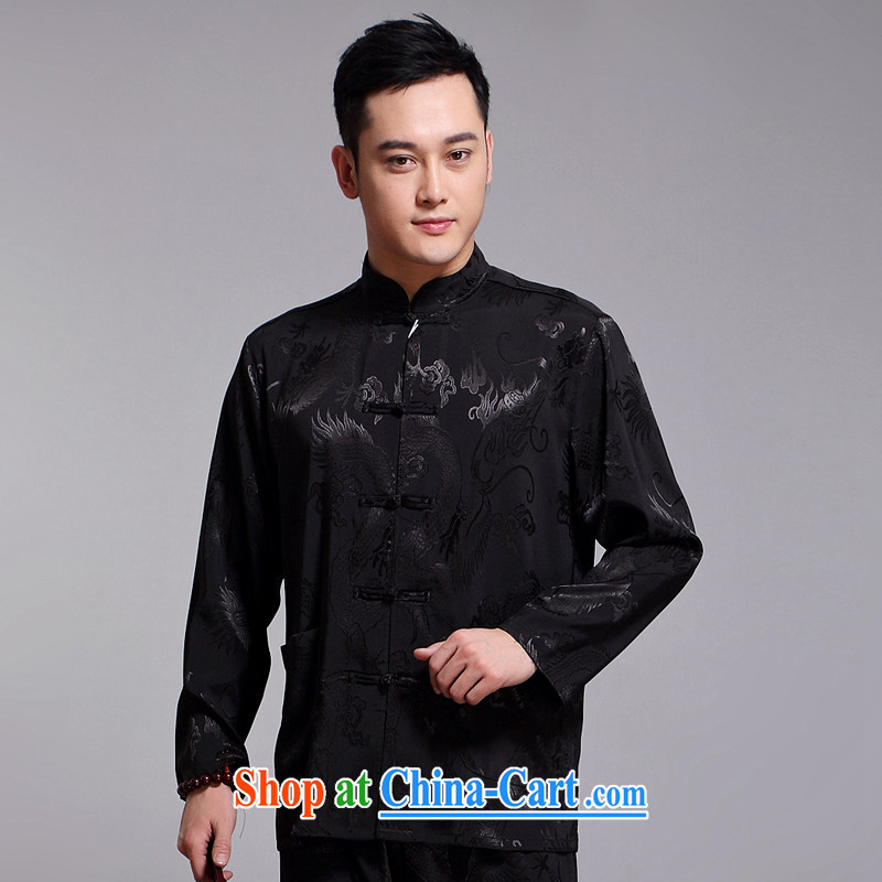 Chinese men and set new Tang in older male sauna silk morning exercise clothing exercise clothing Tai Chi clothing long-sleeved Tang replace 1519 black 190