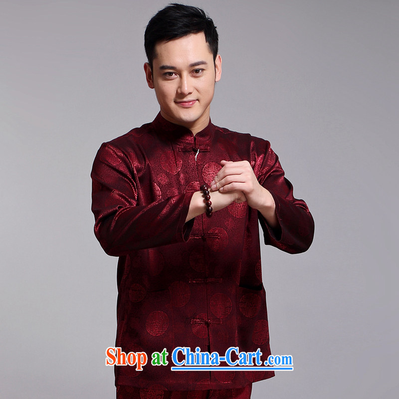 Chinese men's kit 2015 spring and summer new Chinese male, older sauna silk morning Tai Chi 练练功 serving China wind, men's long-sleeved Chinese Red Cross 1518 185