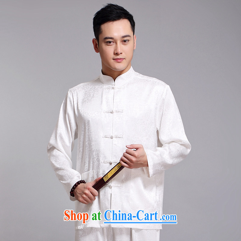 Chinese men's kit 2015 spring and summer new Chinese male, older sauna silk morning Tai Chi 缁冪粌鍔� serving China wind, men's long-sleeved Tang replace 1512 white 175