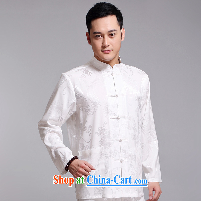 Chinese men and set new, older men's Sauna silk morning exercise clothing exercise clothing Tai Chi Kit long-sleeved Tang replace 1519 white 170