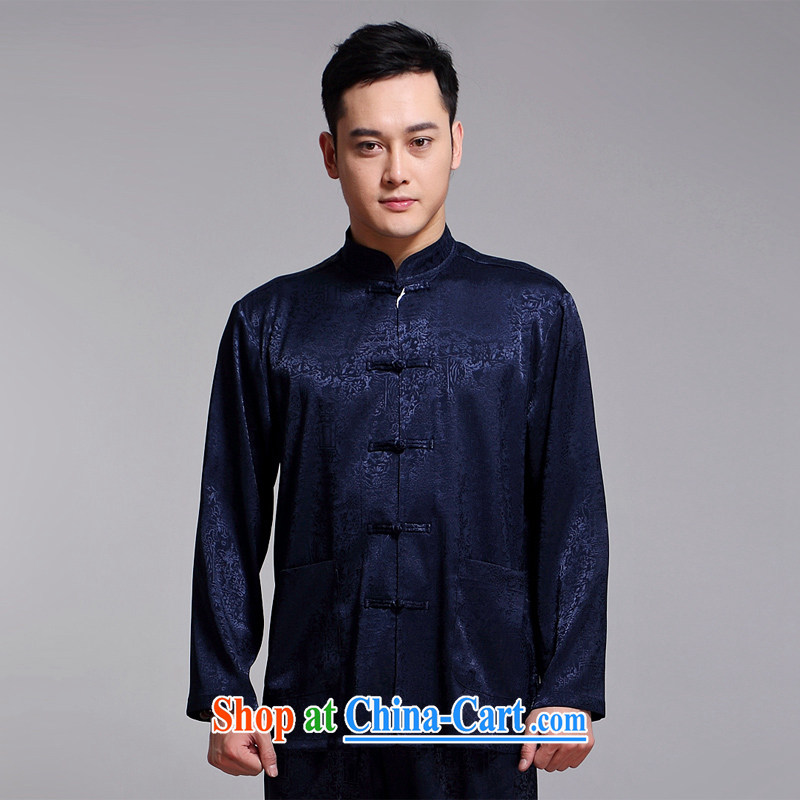 Chinese men and Kit spring and summer new long-sleeved Chinese men and replace the older morning exercise clothing exercise clothing Tai Chi uniforms, and long-sleeved Chinese blue 1512 170