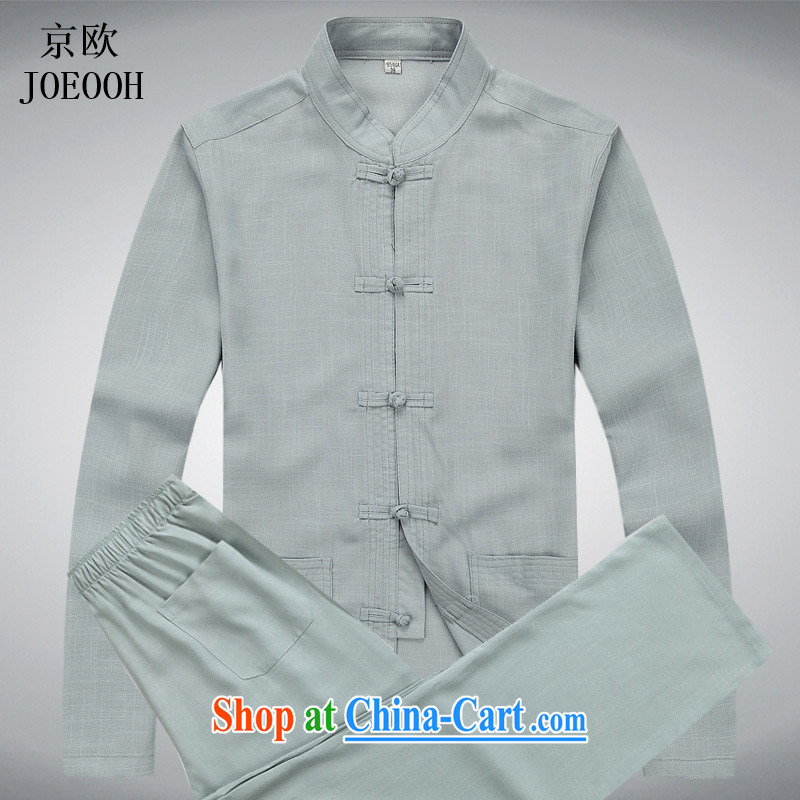 The Beijing spring and summer, older men's long-sleeved Tang package installed China wind cotton Ma national costumes elderly long-sleeved linen package gray package XXXL