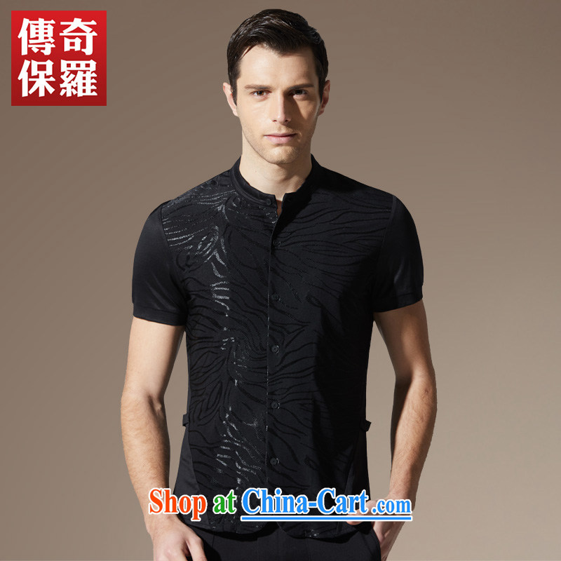 Legendary 2015 summer new Chinese men's high-quality business and leisure short-sleeved shirt T ink black 185 / 100 A/XXL