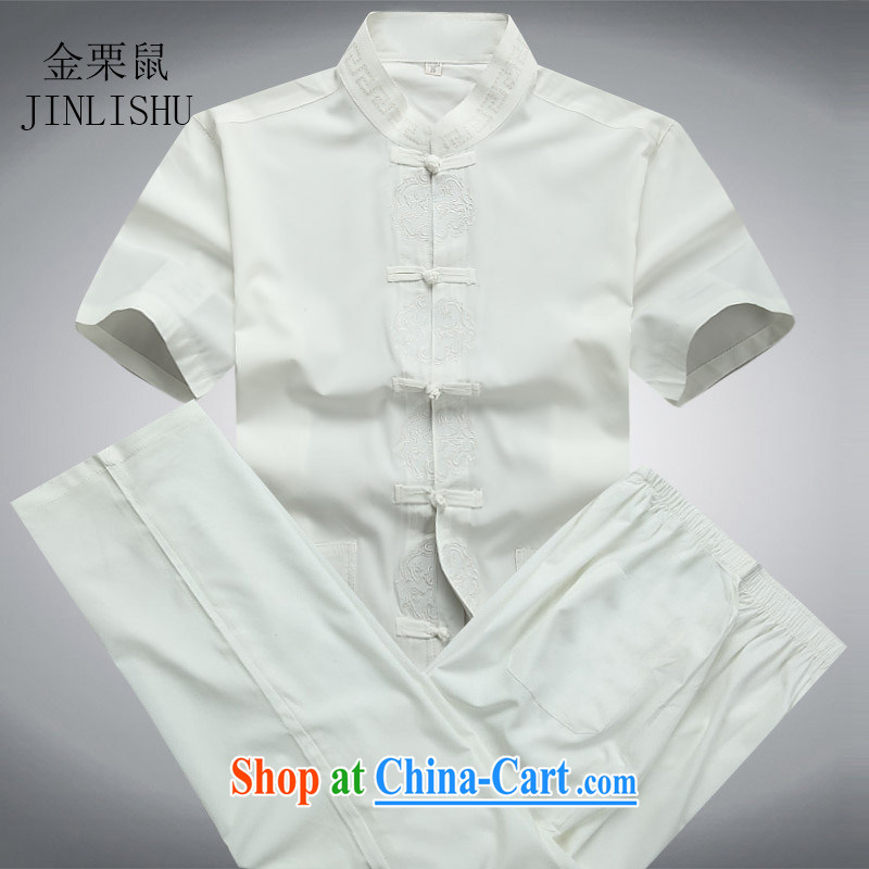 High quality traditional middle-aged men Tang with the chestnut mouse male short-sleeve Chinese men's casual shirt, summer short set with white package XXXL