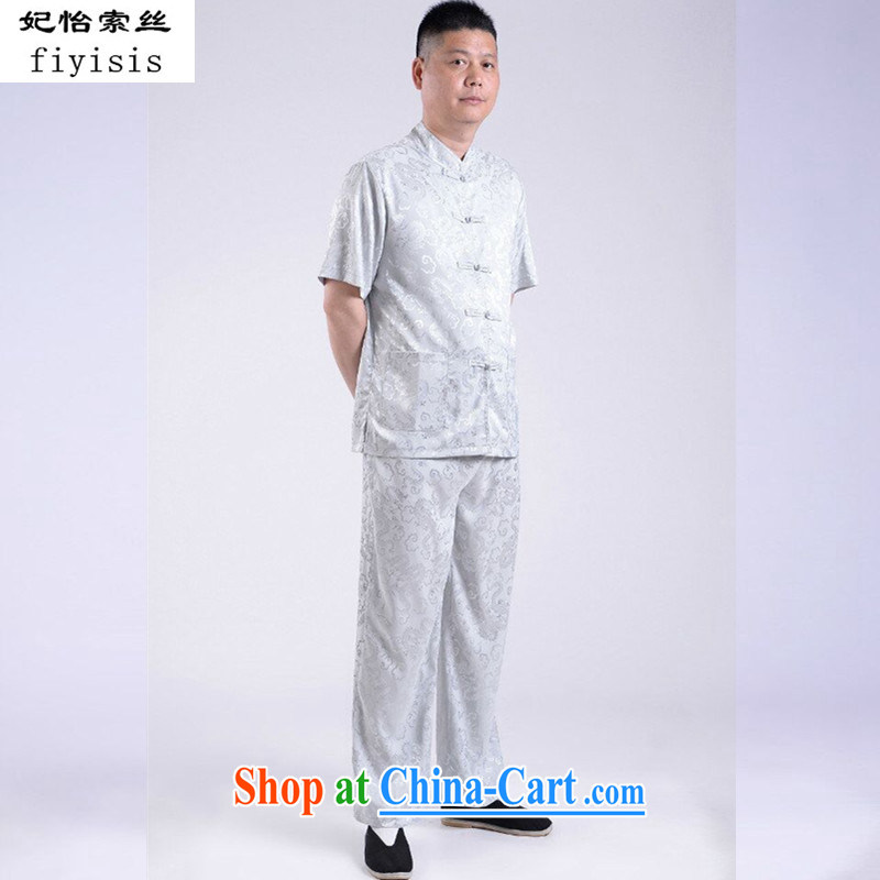 Princess Selina CHOW in 2015 new middle-aged and older Chinese men's short-sleeve kit summer new old men Tang replace Kit older persons with short summer birthday gray 170