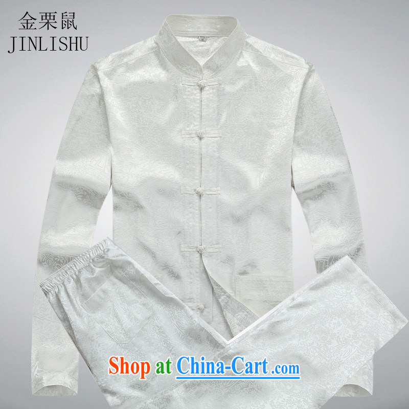 The chestnut mouse men and Chinese men's long-sleeved jacket Kit Chinese style Chinese large code Han-practitioners serving casual white package XXXL