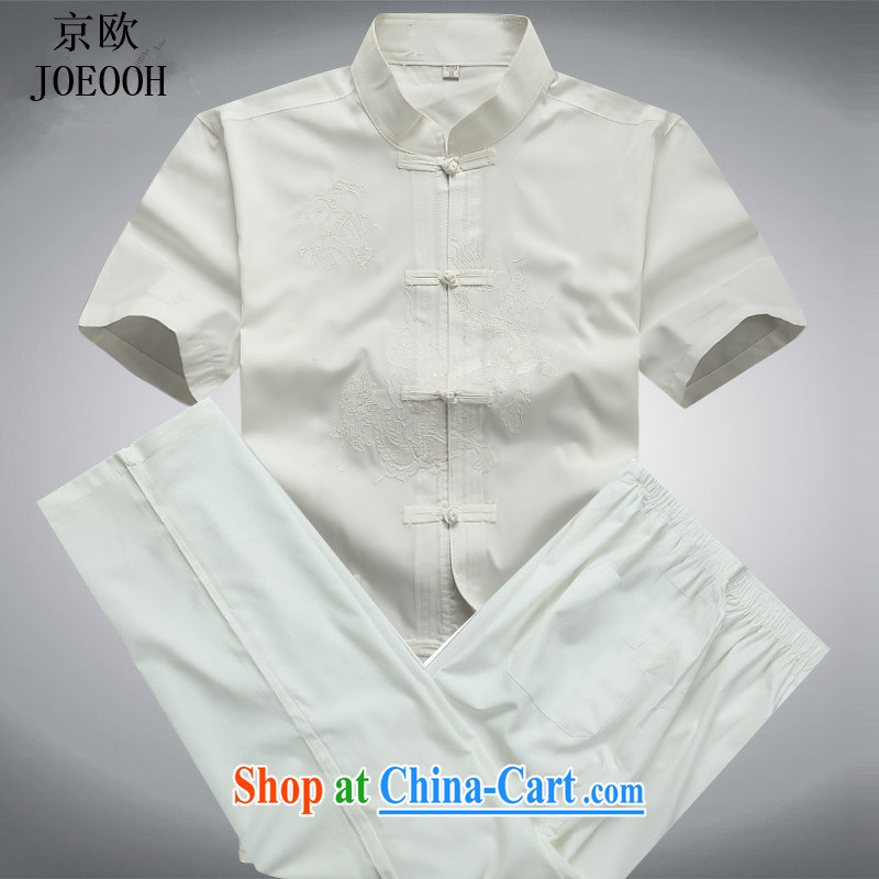 The Beijing Summer men's short-sleeved Chinese summer T-shirt, older male Kit Chinese shirt white package XXXL