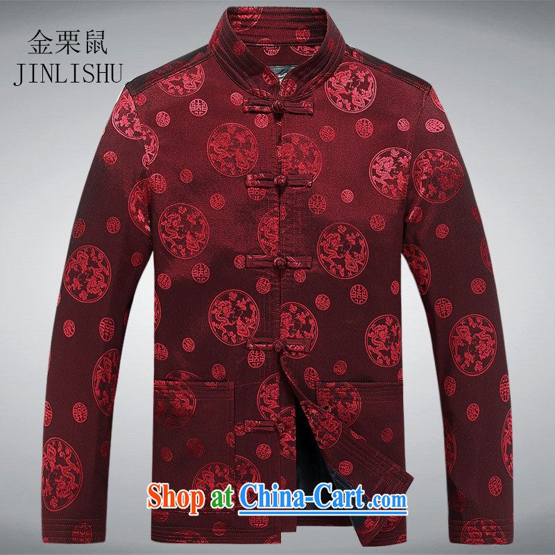The chestnut Mouse middle-aged and older persons with short and long-sleeved T-shirt men's spring men's Chinese jacket coat elderly clothing red XXXL