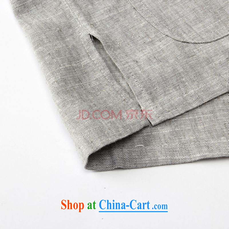 For Pont Sond茅 Diane 2015 new middle-aged and older men's short-sleeved shirt T summer father with linen breathable China wind leisure Tang with gray 185, Pont Sond茅 health Diane, shopping on the Internet