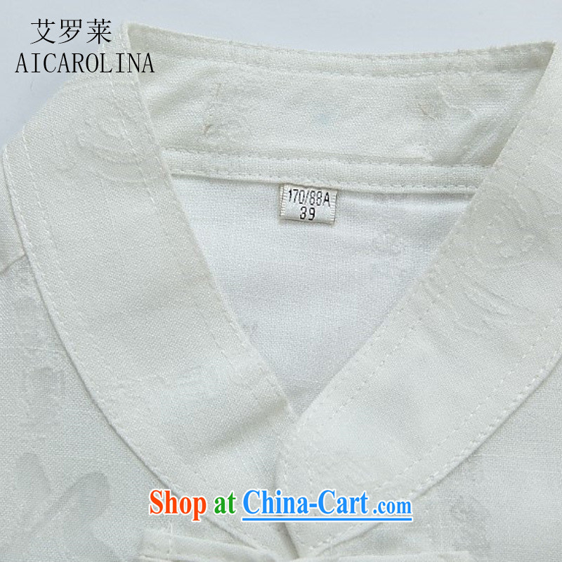 The Carolina boys new linen Chinese men and a short-sleeved Summer Package Chinese leisure large numbers of field load Tang Yau Ma Tei Cotton Men's T-shirt white Chinese XXXL, the Tony Blair (AICAROLINA), shopping on the Internet