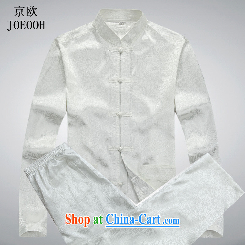 Vladimir Putin in the older men's long-sleeved Tang replacing the code Spring and Summer Package ethnic Han-shirt Grandpa Kit white package XXXL