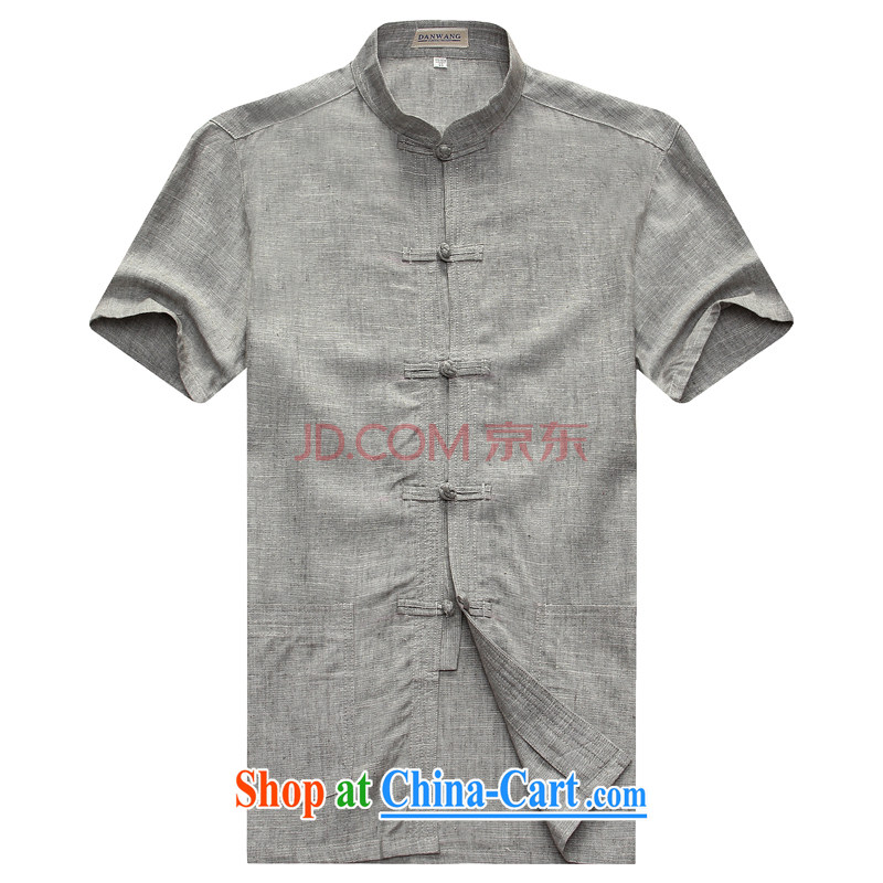 Nigeria, the 2015 new middle-aged and older men's short-sleeved shirt T summer with his father linen breathable China wind Leisure Short gray 185