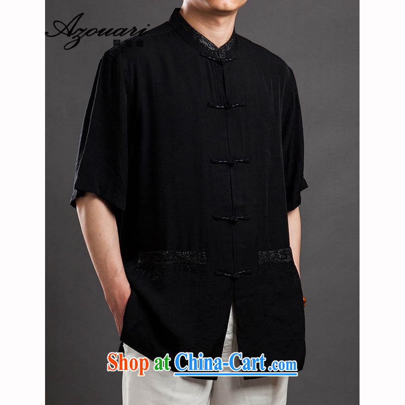 The TSU defense _Azouari_ Men's short-sleeved Chinese Chinese men's summer cool comfort black 48