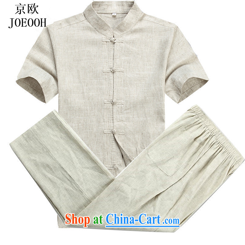Putin's European Summer, older short-sleeved linen Chinese Chinese father with leisure package men Han-morning exercises, T-shirt beige Kit L