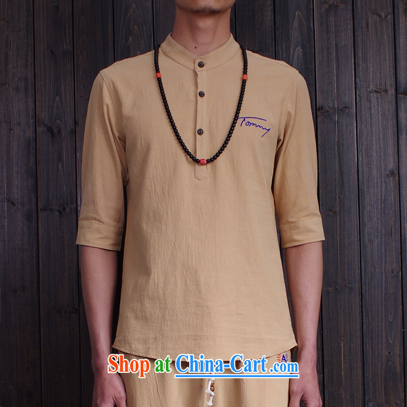 Happy Ka, China wind linen cotton shirt the men's Korean version XL 7 sub-cuff solid color shirt 1109 card the color 5 XL