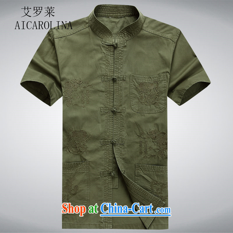 The Luo in older Chinese men and a short-sleeved T-shirt China wind older persons clothing exercise clothing cotton father jackets cardigan dark green XXXL