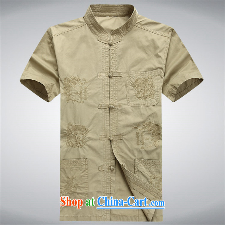 Putin's Europe in 2015 elderly Chinese men and a short-sleeved T-shirt Chinese national costume and the fat summer embroidery take Tai Chi uniforms khaki XXXL pictures, price, brand platters! Elections are good character, the national distribution, so why buy now enjoy more preferential! Health