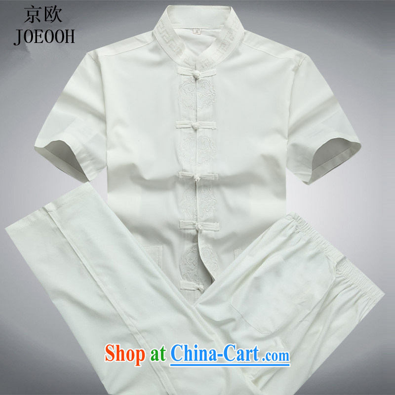 Putin's European Summer Chinese elderly in short-sleeved Chinese, served for the Chinese package half sleeve male smock Kit white package XXXL