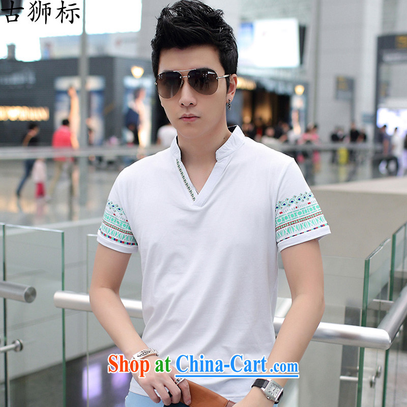 The lion dance, smock Tang replace summer men's cotton cultivating V collar retro China wind short-sleeved T shirts and white XXXL