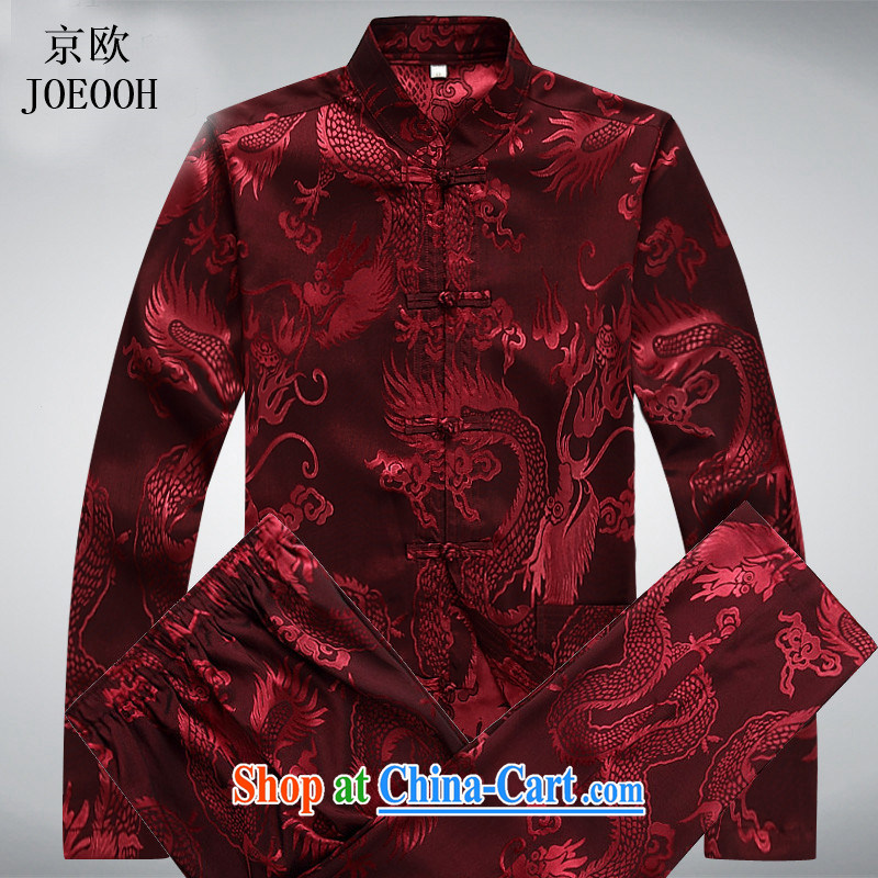 Vladimir Putin in the elderly Chinese men's long-sleeved Kit Spring and Autumn kung fu men Chinese shirt-tie Tang package red package XXXL