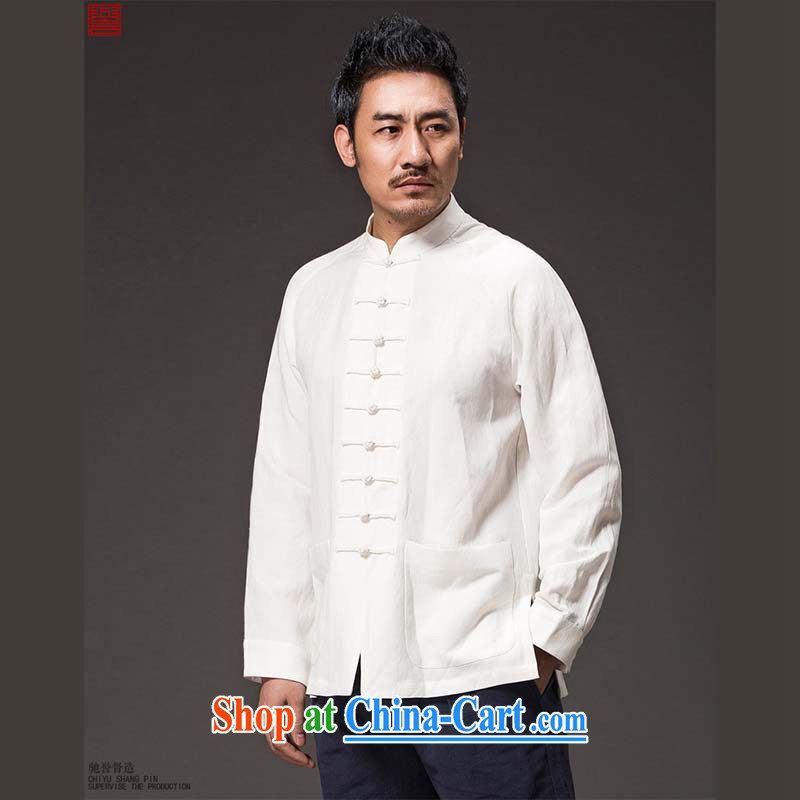 Internationally renowned Chinese male China autumn wind load long-sleeved Ethnic Wind Chinese, apply for a new smock-tie Han-Man Kung Fu T-shirt white 2XL