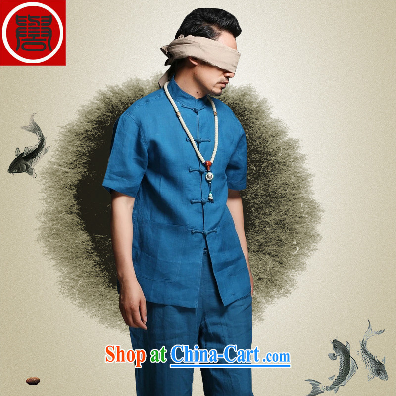 Internationally renowned Chinese wind smock Chinese men's middle-aged and older persons summer linen relaxed and Tang load package short-sleeved men's clothing, men's clothing Nepal sky (short-sleeved) head (4) XL