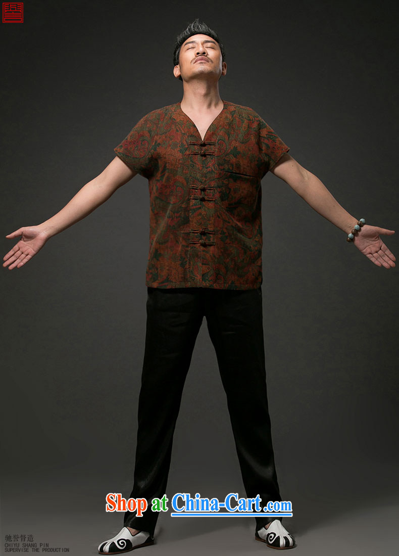 Internationally renowned Chinese wind men's Chinese short-sleeved shirt with Chinese silk silk shirts men's fragrance cloud yarn floral short-sleeve T-shirt private customised, wine red 4 XL pictures, price, brand platters! Elections are good character, the national distribution, so why buy now enjoy more preferential! Health