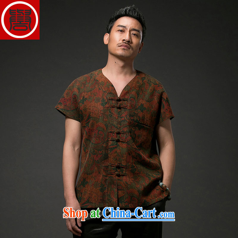Internationally renowned Chinese wind men's Chinese short-sleeved shirt with Chinese silk silk shirts men's fragrance cloud yarn fancy short-sleeve T-shirt private customised, wine red 4 XL