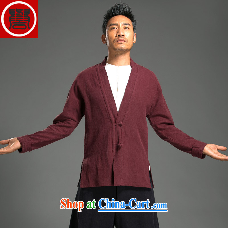 Internationally renowned 2015 China wind men's linen jacket V for Chinese leisure Han-red movement (3) XL