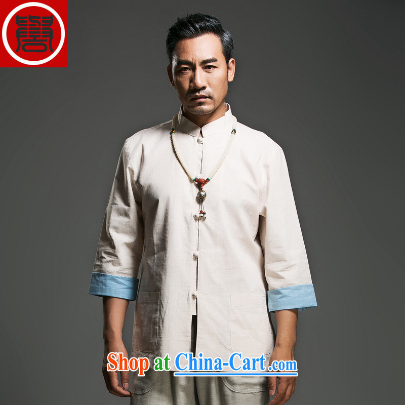Internationally renowned middle-aged and older men's Chinese cotton-buckle, 7 for the cuff Chinese shirt traditional Han Chinese clothing men's clothing Chinese clothing beige (170)