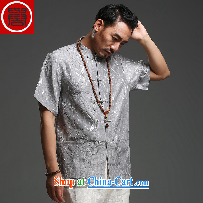 Internationally renowned men's 2015 summer New Tang on middle-aged men's short-sleeved cotton the Tang is loose breathable short-sleeved T-shirt, dark gray (185) and internationally renowned (CHIYU), shopping on the Internet