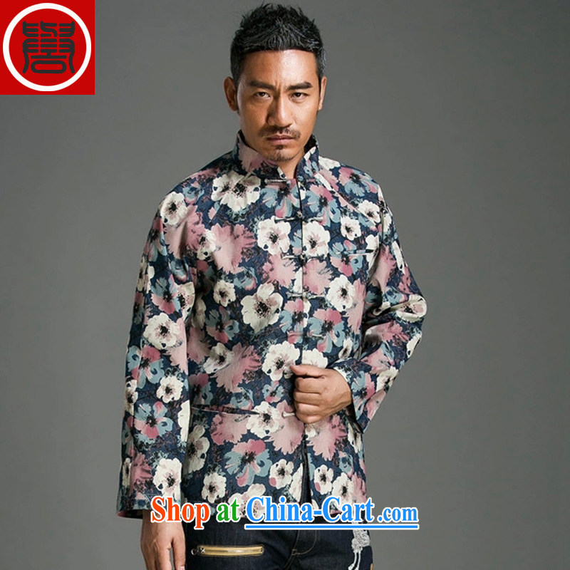 Internationally renowned Chinese wind stamp Chinese men and beauty Long-Sleeve the withholding Chinese improved spring denim jackets, suits (3) XL