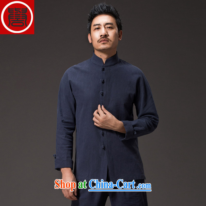 Internationally renowned Chinese wind male Chinese cotton the Chinese shirt Ethnic Wind clothing men's beauty is detained by China for long-sleeved shirt kung fu T-shirt dark blue XXXL