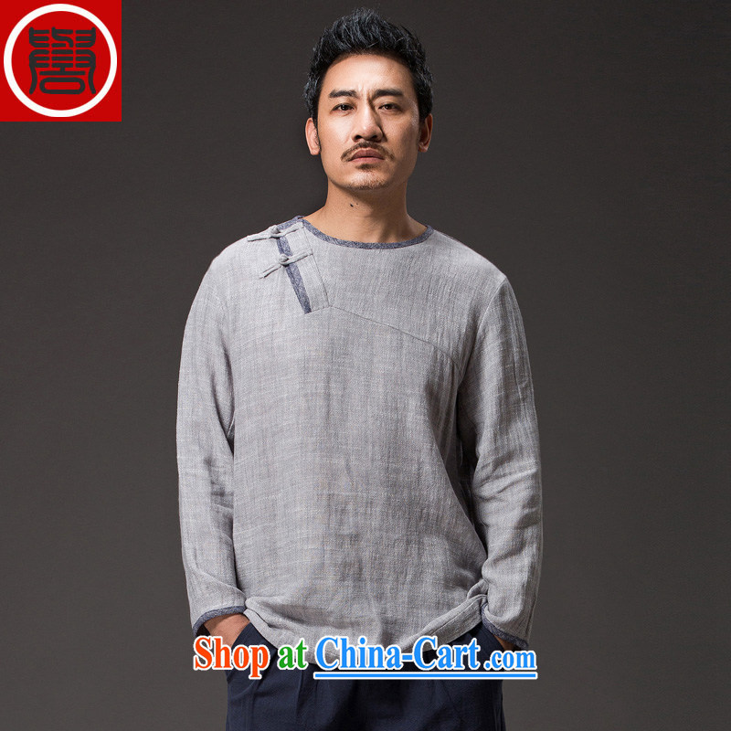 Internationally renowned?Chinese wind autumn men's cotton the Chinese men's long-sleeved shirt T han-serving Nepal loose swashplate wear clothing in light gray (L)