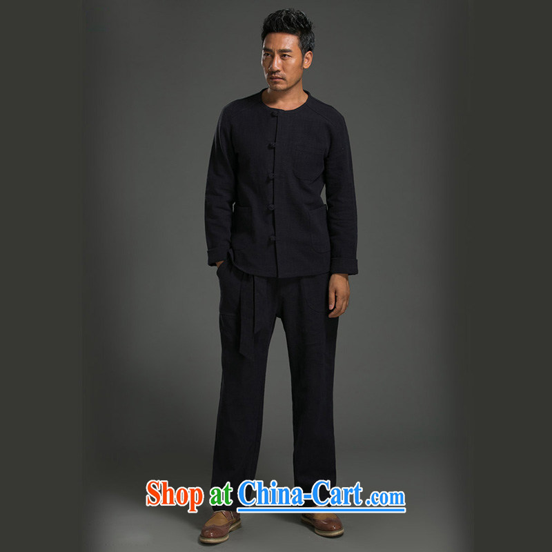 Internationally renowned Chinese style Chinese men's long-sleeved T-shirt T-shirt kung fu T-shirt men's kit Chinese round-collar cotton Ma Sau San simple ethnic wind Han-dark blue XXXL