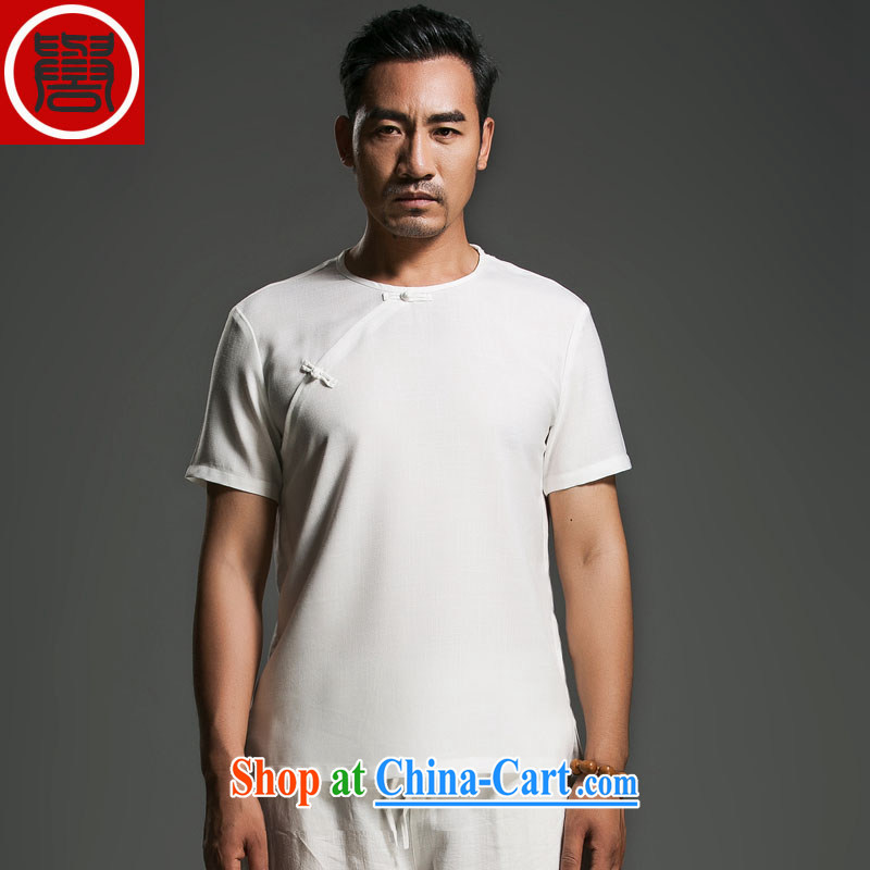 Internationally renowned Chinese wind men's summer linen tray snaps round-collar short-sleeve swashplate for Korean personality male white movement _3_ XL