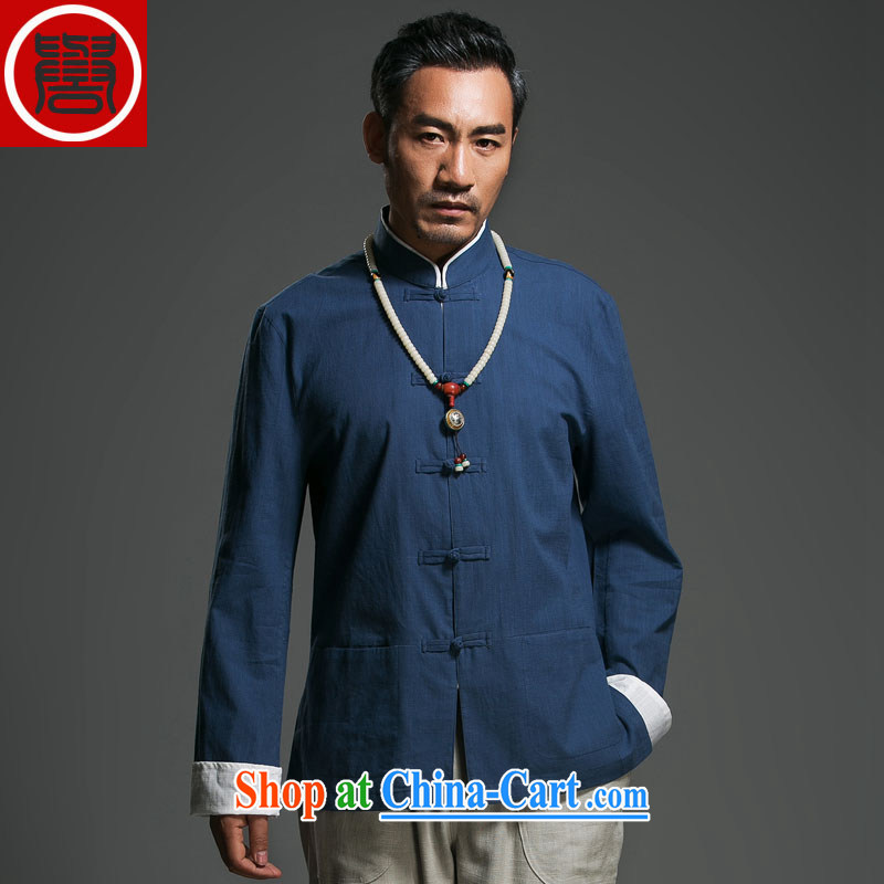 Internationally renowned Choo, linen Solid Color Tang with long-sleeved loose China wind men's jackets men and the buckle clothing ethnic wind kung fu T-shirt Han-dark blue _185_