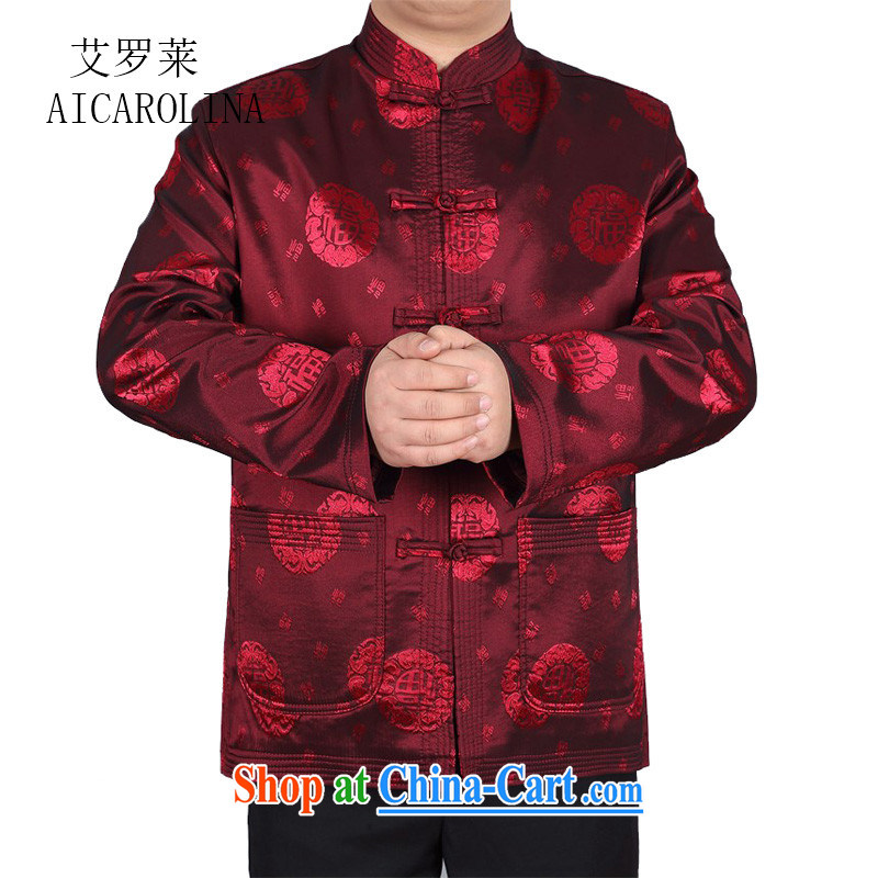 The middle-aged, male Chinese new leisure Chinese men's long-sleeved T-shirt jacket China wind red XXXL