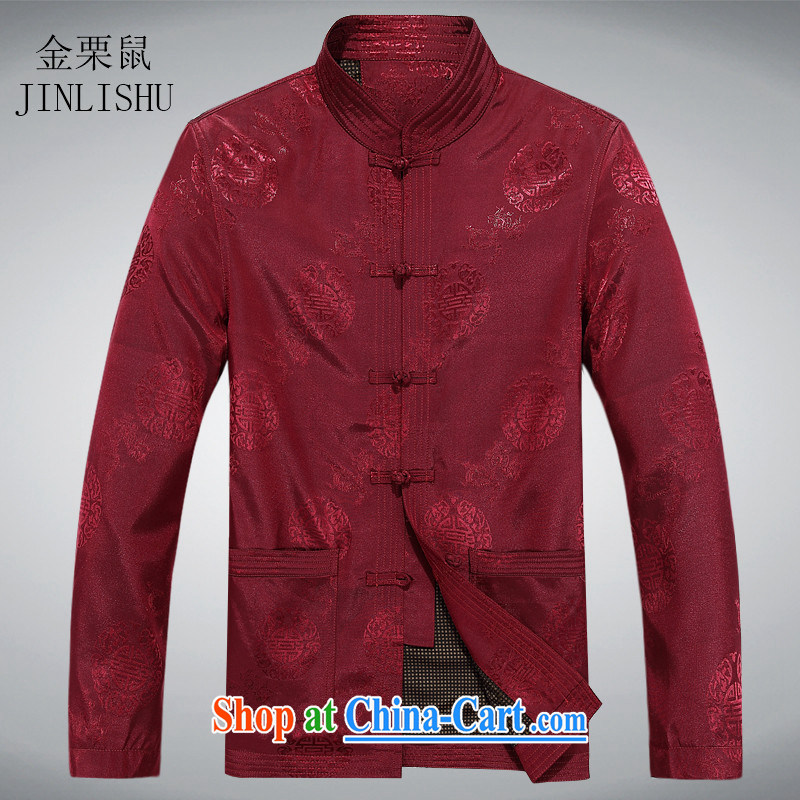 The chestnut mouse spring men Chinese men and older jacket spring loaded Tang jacket red XXXL