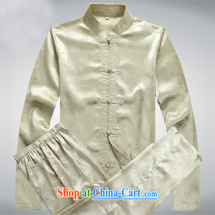 The Carolina boys men's Chinese cotton long-sleeved Chinese Dragon Chinese male Tang load package and long-sleeved T-shirt beige Kit XXXL pictures, price, brand platters! Elections are good character, the national distribution, so why buy now enjoy more preferential! Health