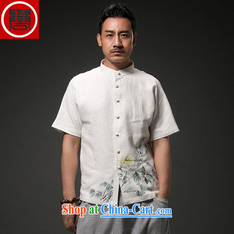 Internationally renowned Chinese men and casual printed cloth linen short-sleeve shirt China wind male cotton the Summer T-shirt men's white XL