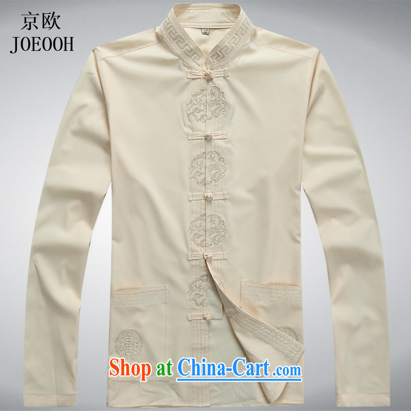 Europe's New Man Tang replace long-sleeved Kit older persons in smock spring and summer with Han-grandfather jacket with pale yellow T-shirt XXL