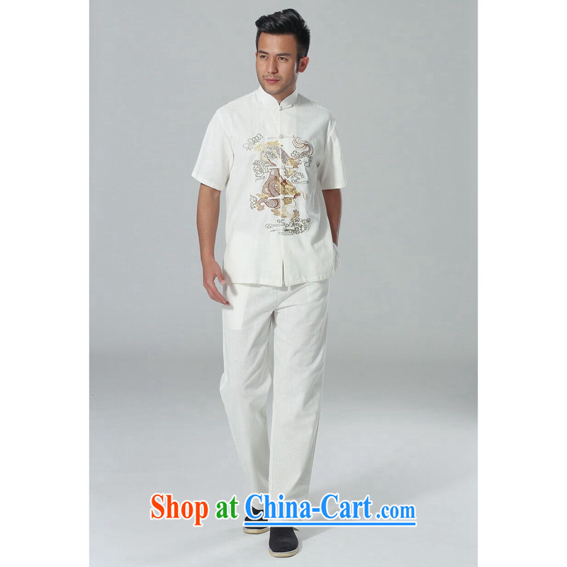 spend the summer New Men's short-sleeved Chinese Chinese, for the flap embroidered dragon cotton Ma Tai Chi clothing men's package white Kit 3 XL