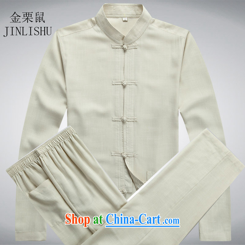 Kim Jong-il chestnut mouse spring linen men Chinese men's long-sleeved Kit older persons in Chinese Grandpa summer beige Kit XXXL
