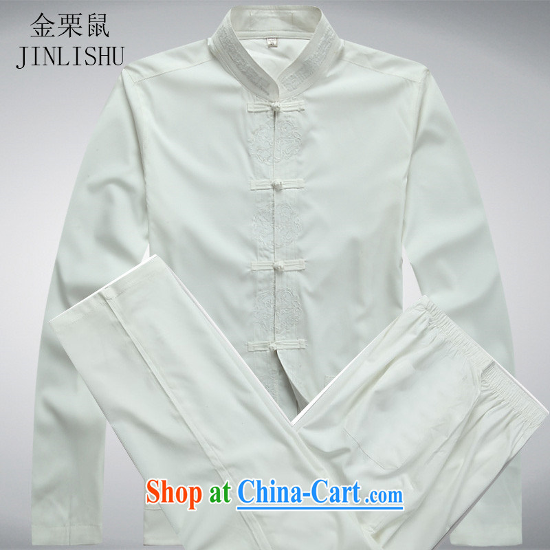 The chestnut mouse spring middle-aged and older Chinese men and long-sleeved T-shirt elderly men Kit Chinese Han-long-sleeved Kit white package XXXL