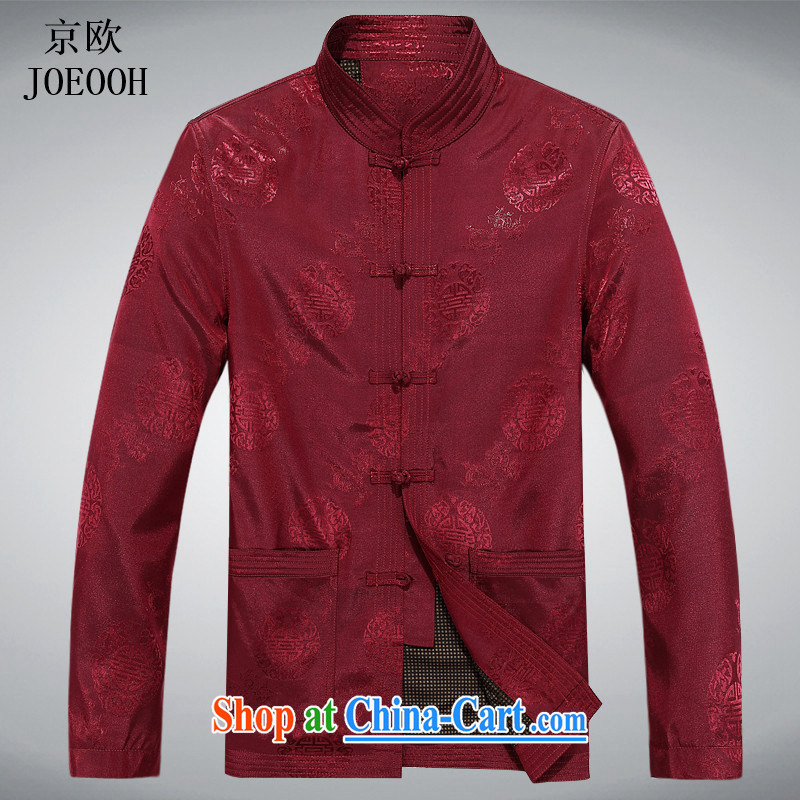 Putin's European elderly fall clothes with men older people Chinese jacket jacket Chinese Disk Port, older Chinese men's long-sleeved red XXXL