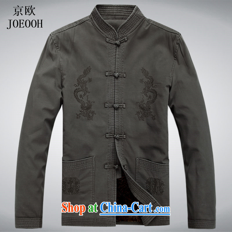 The Beijing China wind Cotton Men's Chinese men's long-sleeved jacket Chinese Spring costumes Han-cynosure serving light gray XXXL
