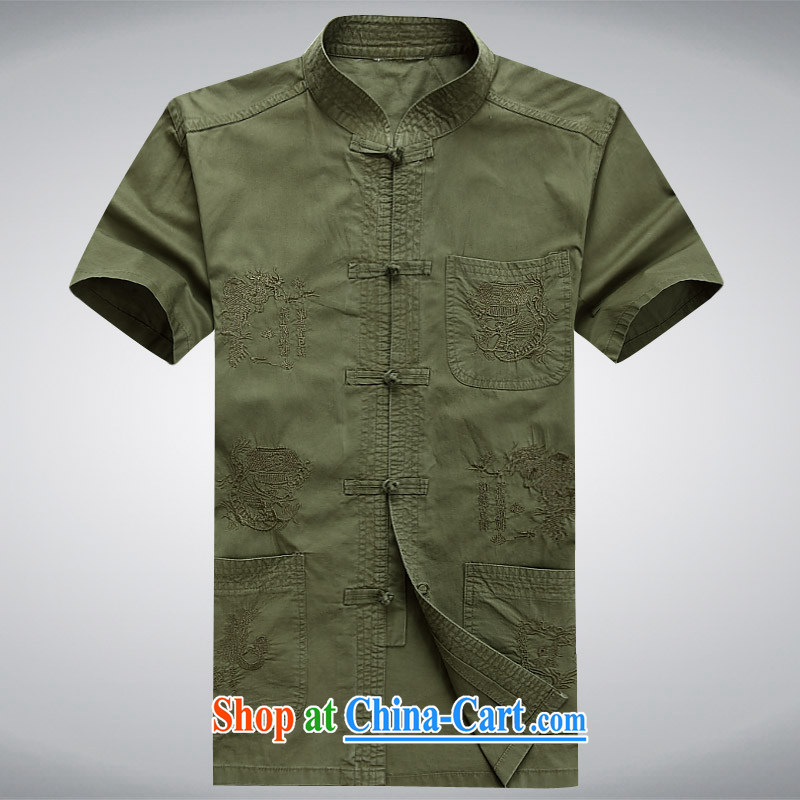 The chestnut mouse summer new middle-aged and older Chinese men and a short-sleeved T-shirt casual China wind Tang with dark green XXXL, the chestnut mouse (JINLISHU), shopping on the Internet