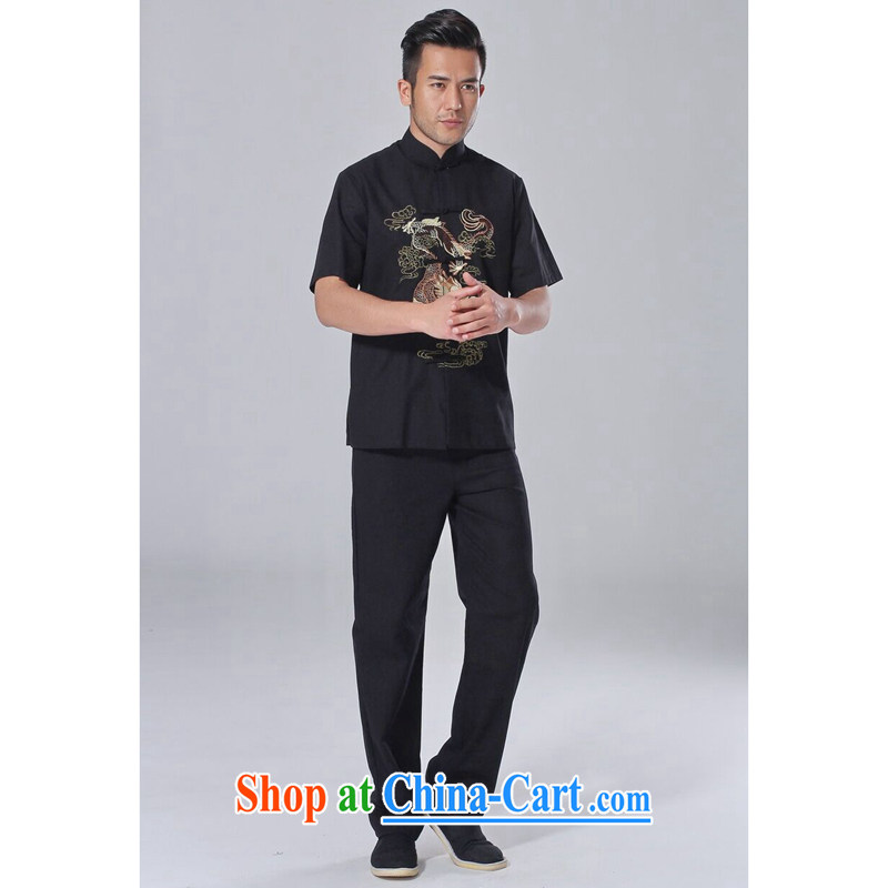 spend the summer with new male Chinese Chinese improved the flap embroidered dragon men cotton Ma Tai Chi uniform short-sleeve kit kit 3 XL